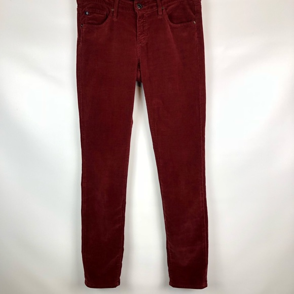Woman/'s Alexa Chung for AG Adriano Goldschmeid Dark Red Corduroy Pants 24, 27